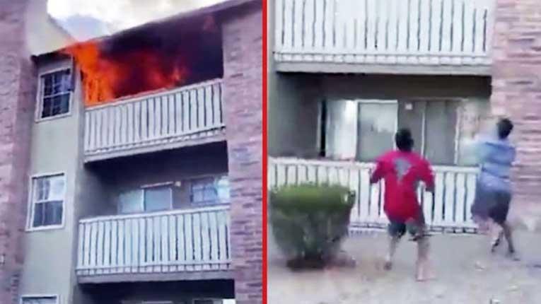 Херојски потег на американски спортист: Фати детенце фрлено од стан кој гореше (Видео)