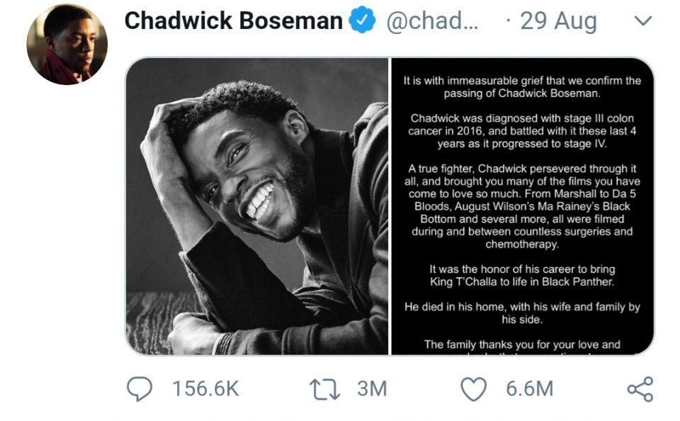 Објавата за починатиот актер Бозман го урна рекордот на Твитер