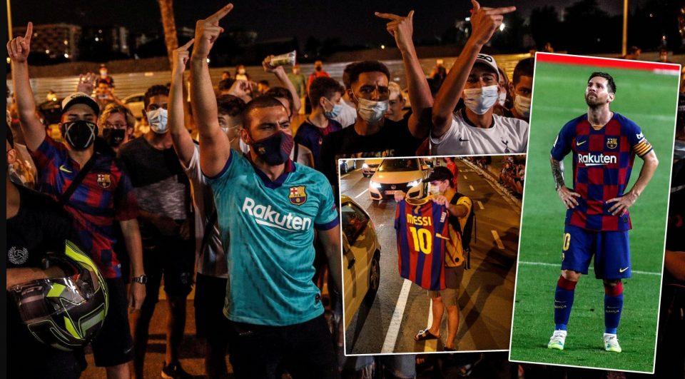 """ВИДЕО: """"Гори"""" пред Камп Ноу, навивачите на Барса не му дозволуваат на Меси да замине"""
