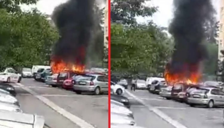 Горат автомобили на паркинг во Ново Лисиче, жителите во паника (ВИДЕО)