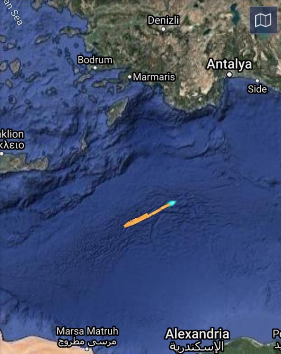 """Турскиот брод """"Оруч Рејс"""" го промени правецот, Грција бара да го напушти грчкиот континентален гребен"""