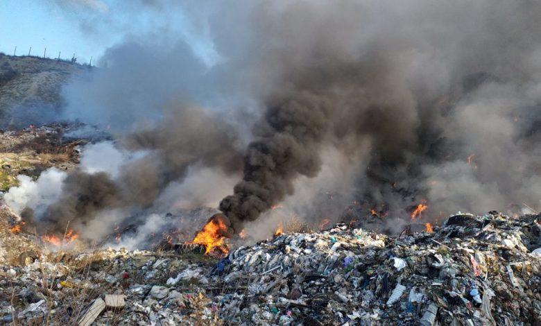 """Четврти ден гори депонијата кај салата """"Борис Трајковски"""""""