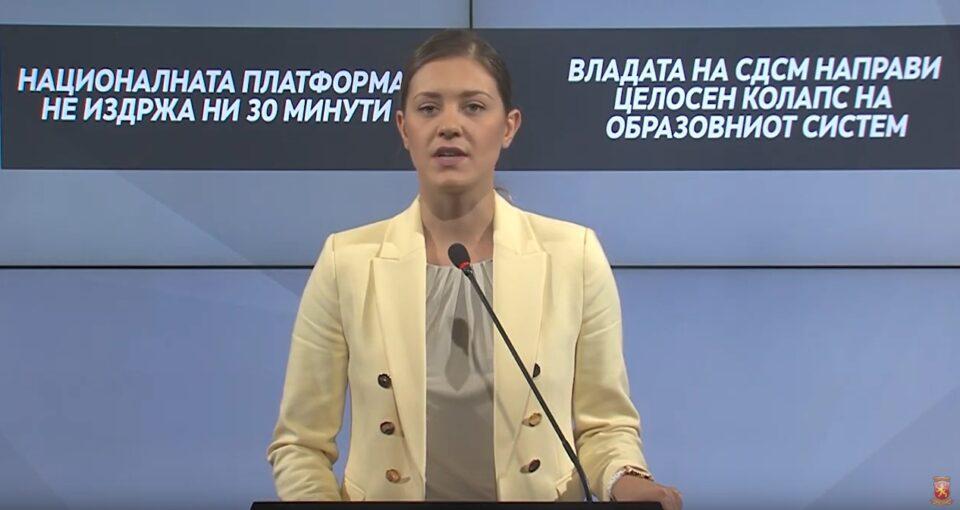 Mитева: Владата на СДСМ направи целосен колапс на образовниот систем, националната платформа не издржа ни 30 минути