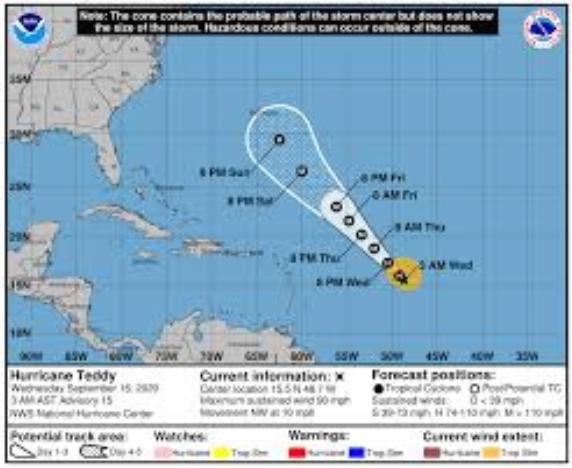 """Ураганот """"Теди"""" зајакна во ураган од втора категорија"""