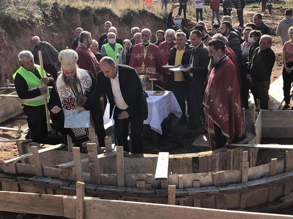 Поставен камен темелникот на првиот православен храм во село Трстија во Виница