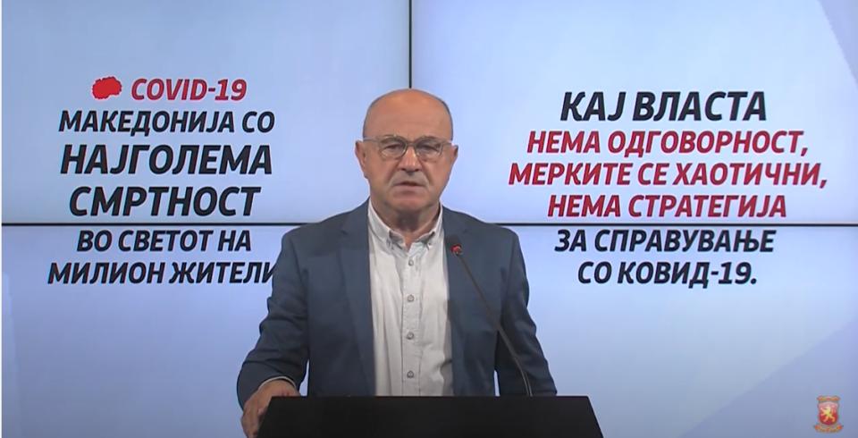 Проф. д-р Марковски: Имаме најголема смртност во светот на милион жители од КОВИД во последните неколку недели, а кај власта изостанува одговорност