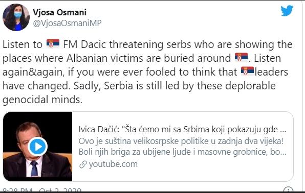 Османи: Србија ја водат геноцидни умови, слушнете што вели Дачиќ