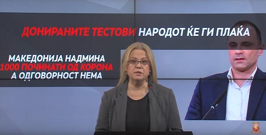 Стојаноска: Здравството во хаос – Македонија надмина 1.000 починати од корона, а власта бара донираните тестови народот да ги плаќа!
