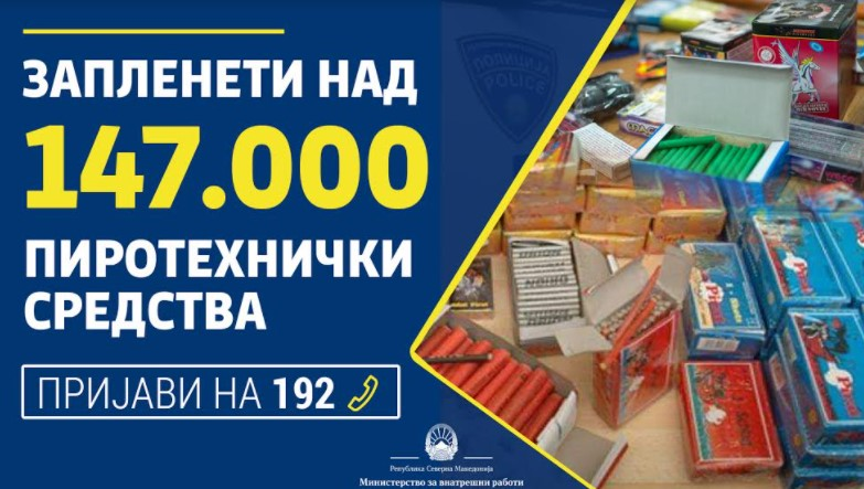 Изминатиов период запленети над 147.000 пиротехнички средства