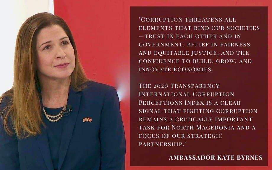 """Брнз по извештајот на """"Транспаренси"""": Борбата против корупцијата останува критично важна задача за земјата"""