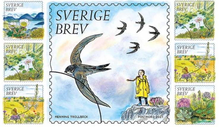 Ликот на Грета Тунберг на шведска поштенска марка