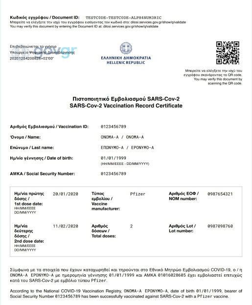 Во Грција од денес почна да се издава дигитален сертификат за вакцинација