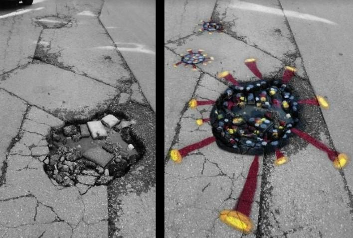 Улиците во Тетово се полни со дупки: Надлежните не превземаат ништо, па еве каква порака преку уметност испратија младите (ФОТО)