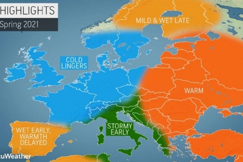 """Каква пролет нè очекува? """"AccuWeather"""" објави долгорочна прогноза за цела Европа"""