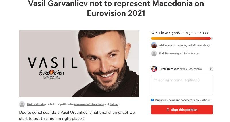 Со петиција се бара Васил Гарванлиев да не ја претставува Македонија на Евровизија