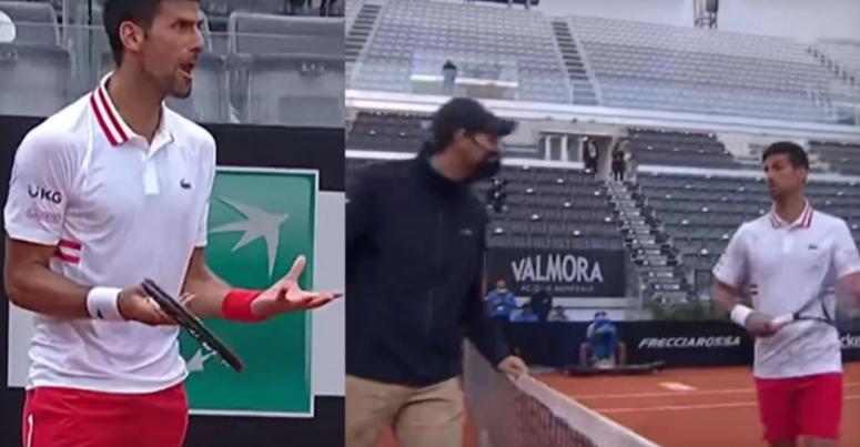 ВИДЕО: Ѓоковиќ врескаше на цел глас, бараше прекин на мечот поради дожд