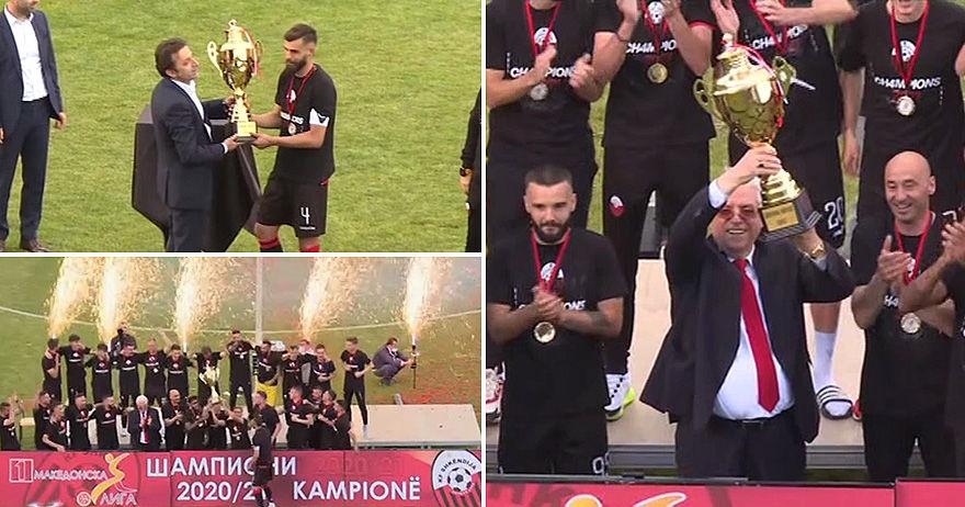 Претседателот на ФФМ Мухамед Сејдини го предаде шампионскиот пехар на Шкендија (ВИДЕО)