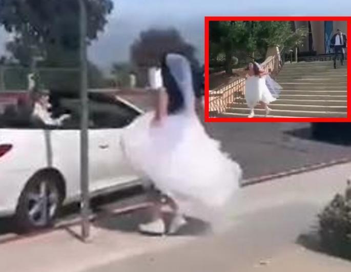 ДРАМА: Бега од венчавка – младата трча колку што ја држи силата, младоженецот се обиде да ја спречи (ВИДЕО)