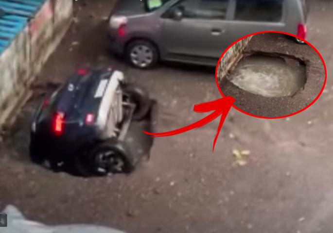 На паркинг се отвори oгромна дупка и буквално го проголта автомобилот! Ова видео го остави светот во ШОК (ВИДЕО)