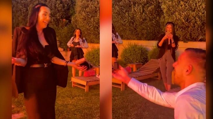 """ФОТО: Фудбалерот и подготви вистинско изненадување на Катарина Грујиќ, пејачката кажа """"ДА"""""""
