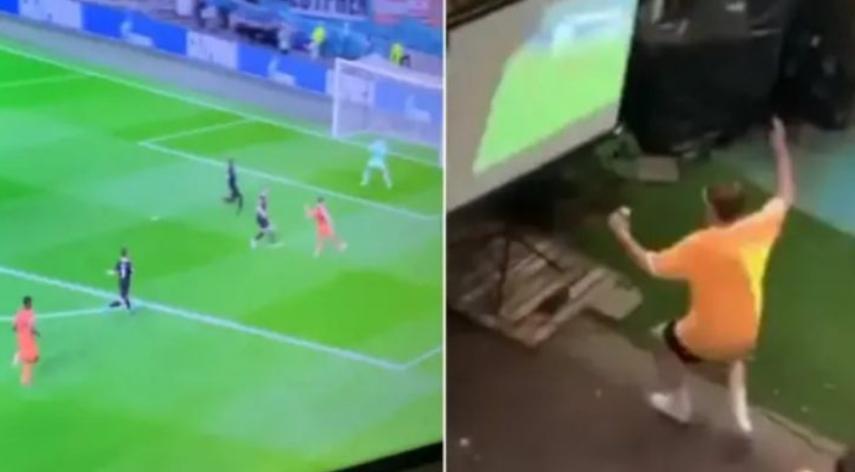 ВИДЕО: Холандски навивач се мајтапеше со своите соседи кои што гледале задоцнет пренос од 30 секунди од натпреварот!