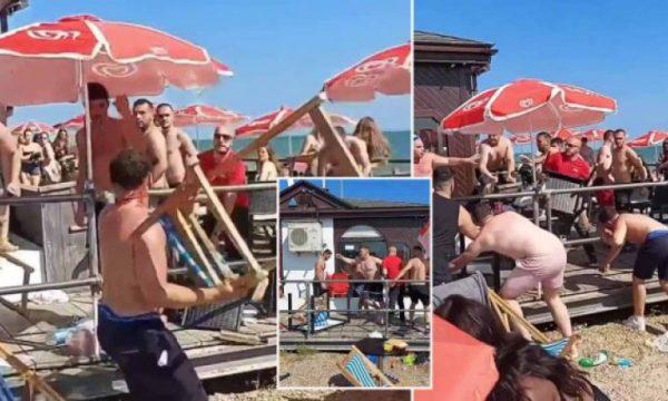 ВИДЕО: Масовна тепачка на плажа, се употребувале  и столици!