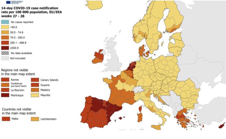 СЕ ВКЛУЧУВААТ ПОРТОКАЛОВИТЕ АЛАРМИ: Европа ја менува бојата на ковид-мапата