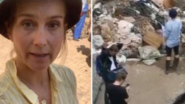 ВИДЕО: Отпуштена новинарка, намерно се мачкала со кал за да претстави дека помага во расчистувањето по поплавите во Германија