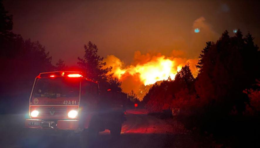 Десет шумски пожари активни во Турција