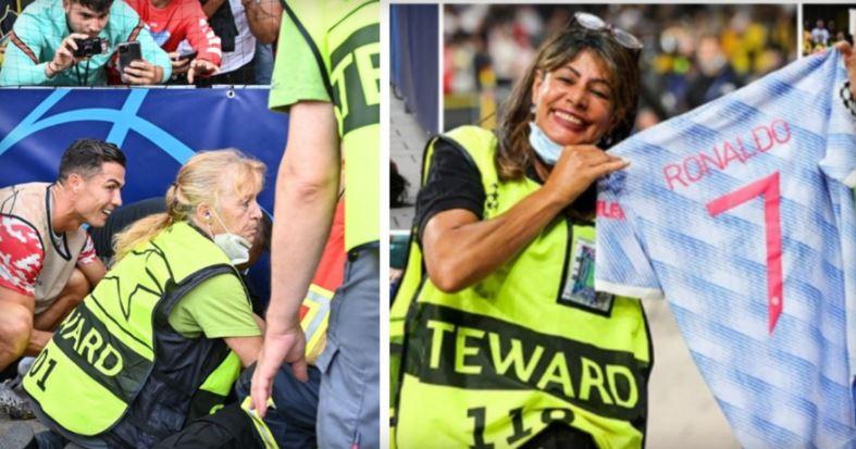 """ФОТО: Роналдо ја """"нокаутира"""", па ѝ го подари својот дрес на редарката"""